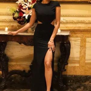 Lulu's BLACK BACKLESS MAXI DRESS